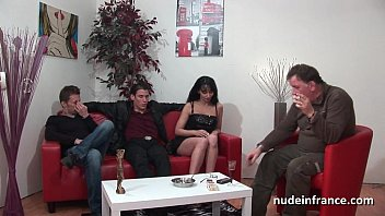 Amateur french milf hard double penetrated and jizzed for her casting couch