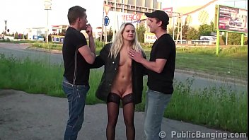 A hot blondie fucked by 2 guys on the street in public sex threesome gang bang
