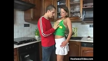 Slutty wife invited a young boy that can give her a good fucking, since her husband doesn't fuck her like she likes anymore