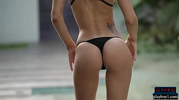 Sexy ebony bikini model Perfect argentinian model in a small bikini gets naked