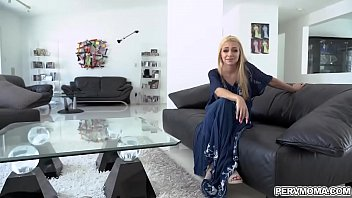 Blonde naughty wife Honey Blossom grabs and swallows his stepsons meaty dick and gave him the best blowjob ever.