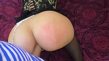 Son's fat cock in mom's ass.  spanking and anal