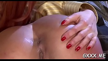 Lesbo stunner plays with two big toys on her juicy pussy