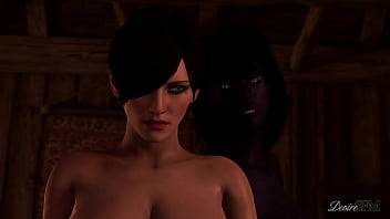 The Witcher Futanari - Shemale with huge cock fucking Ciri rough