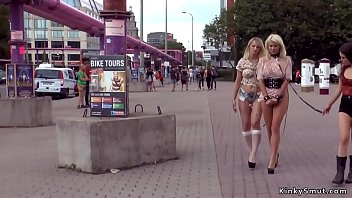 Blonde slaves group fucking in public