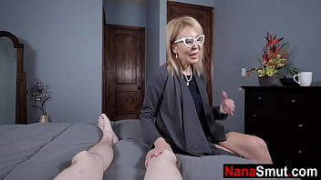 Lonely granny jumps on step grandson's cock
