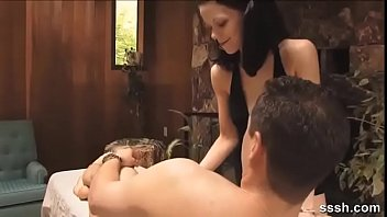 Brunette Masseuse Stiffens Her Client For Foreplay Action