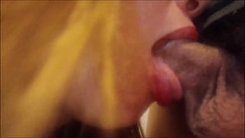 pervert's small cock drops a huge load of cum in a greedy mouth