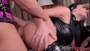 Busty babe in leather ass fucked and takes cumshot on tits