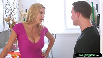 Busty stepmom is in the laundry area and suddenly her stepson arrives and wants to fuck her.She lets him pull out his cock and she then throats it.In return she sits on stepsons face and lets him fuck her wet pussy until he cums.
