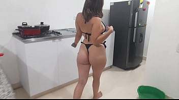 Rich busty very horny ends up failing a big banana in her kitchen until she gets her rich white milk