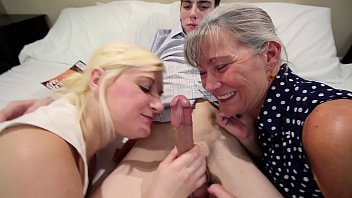 MILF Mom and Sister Give Son a Double Blowjob