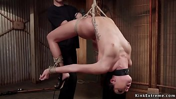 Trainee in back arched bondage is fucked 5 min