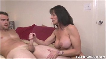Stockings milfs over 40 - Brunette milf topless handjob
