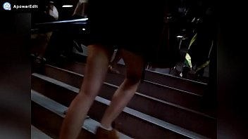 Hot legs climbing up the stairs