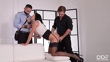 Horny wife Jasmine Jae licked and fucked while bound cuckold watches