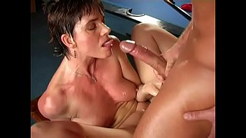 Mature wife with gorgeous body cums on big cock of young employee of her hubby
