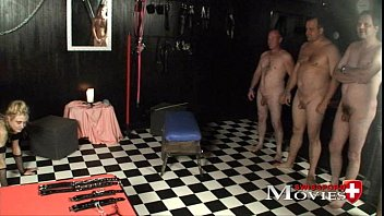 Lady A.J. plays with the slave Sandy and 5 guest slaves. Experience the perverse fantasies of Lady and watch how dirty they fuck the mistress, sucking and licking sperm. Punishments and humiliations f