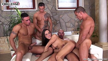 Mea Melone getting four hard cocks