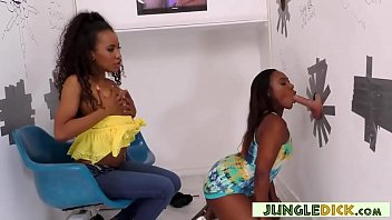 Two Gorgeous Black Babes Suck White Cock in a Gloryhole Booth - Chanell Heart, Demi Sutra