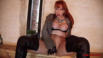 Mature British redhead RedXXX masturbates in pantyhose video
