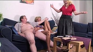 Granny and Teen Share Cock