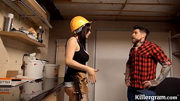 Sexy big boobs babe plays with the handymans big tool