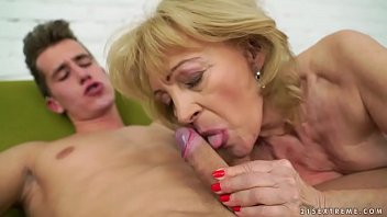 Grannie loves sucking big young cocks Old lady is in love with this young dick
