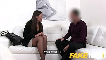 Fake Agent Smartly dressed brunette sucks and fucks casting agent on sofa