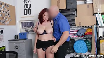Redhead woman Andi James in underwear gets fucked by the LP Officer