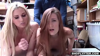 CoverStepMother and StepDaughter punished with hard cock for shoplifting - Shoplyfter