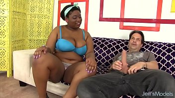 Thick big boobed black girl takes white cock