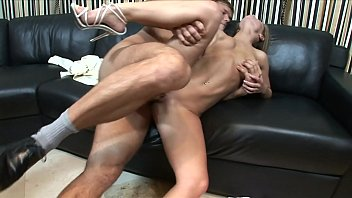 Young hottie Jenny b. was banged on black leather sofa with hard pole