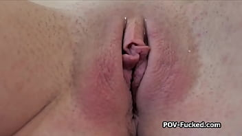 Busty Angel plays with cock for the first time on camera