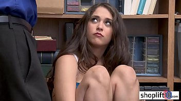Hot brunette teen banged by a LP officers in threesome