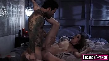Petite goth babe pussy rammed by bf cock