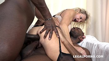 Granny whore Marina Beaulieu fucked like a bitch by 2 Black cocks porn image