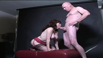 Busty MILF in stockings sucks cock then rides it in all positions