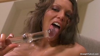 Anna Nova wanking with glass dildo and gets her tight anal Fucked