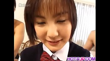 Nao Hirosue in uniform has hairy cunt fucked with dildo and cocks - More at hotajp.com