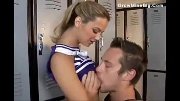 Skinny teen janitor in locker room Cute cheerleader chick laid in the locker room