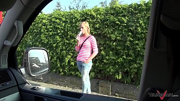 Raw fuck for skinny blonde before kick her out of driving van 25 min
