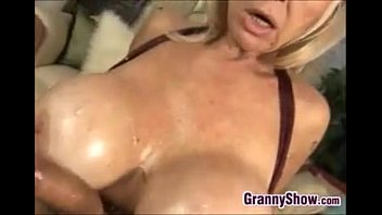 Busty Blonde Grandmother Titty Fucking