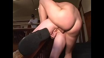 Fat pussy red head coed Audrey Hollander gets pussy and asshole pounded by two frat guys in frat house