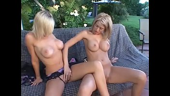 Three gorgeous lesbian blondes with bit tits lick and fuck each other pussies with toys outdoors