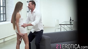 Cowgirl style passionate sex with young babe and white dude