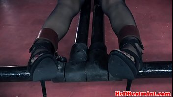 Submissive petite beauty gagged and toyed