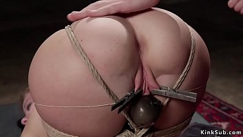 Clamped pussy blonde gets anal banged