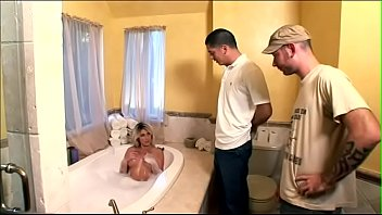 Fairhaired Hott ie Ciera Sage With Big Bristol ith Big Bristols Invites Couple Of Plumbers To Clean Her Holes With Their Masssi