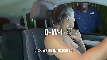 Ebony slut gets pulled over by cop and fucked hard D-W-I 49 sec